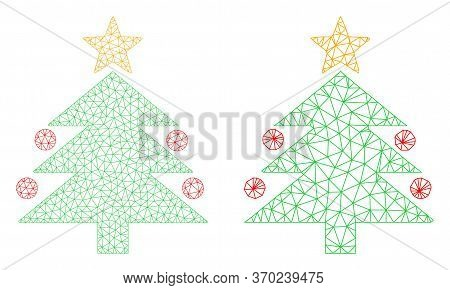 Mesh Vector Christmas Tree Icon. Mesh Wireframe Christmas Tree Image In Lowpoly Style With Organized