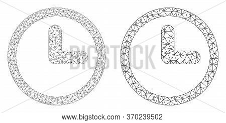 Mesh Vector Clock Icon. Mesh Carcass Clock Image In Lowpoly Style With Connected Triangles, Dots And