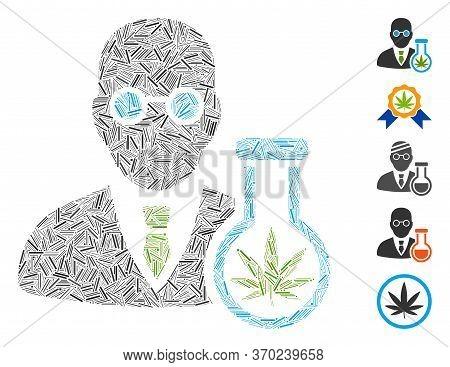 Line Mosaic Based On Cannabis Chemist Icon. Mosaic Vector Cannabis Chemist Is Composed With Random L