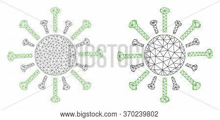 Mesh Vector Contagious Virus Icon. Mesh Wireframe Contagious Virus Image In Lowpoly Style With Struc