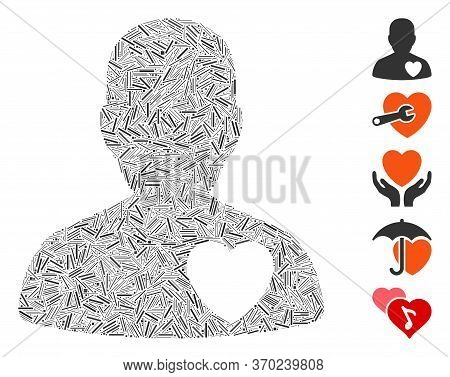 Dash Mosaic Based On Cardiology Patient Icon. Mosaic Vector Cardiology Patient Is Formed With Scatte