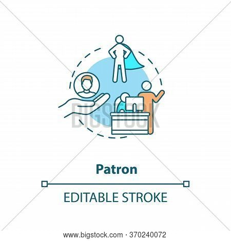 Patron Concept Icon. Mentor Figure, Superior Chief And Leader Idea Thin Line Illustration. Professio