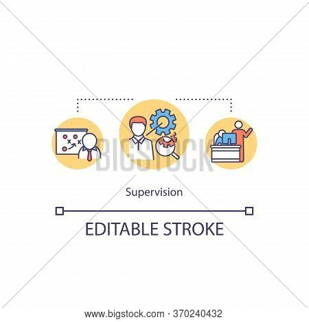 Supervision Concept Icon. Supervisory Mentoring Idea Thin Line Illustration. Protege Growth Planning