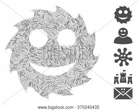 Line Mosaic Based On Circular Blade Happy Smiley Icon. Mosaic Vector Circular Blade Happy Smiley Is