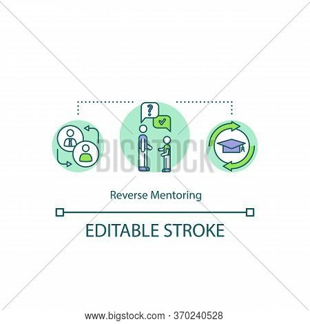Reverse Mentoring Concept Icon. Helping Superiors With Professional Skills Development Idea Thin Lin