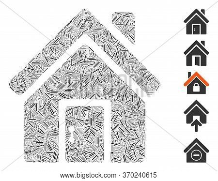 Hatch Mosaic Based On Closed House Door Icon. Mosaic Vector Closed House Door Is Designed With Rando