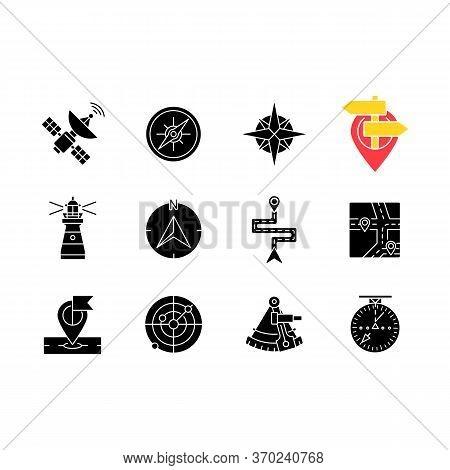 Navigation Black Glyph Icons Set On White Space. Land, Marine And Aeronautical Navigating Silhouette
