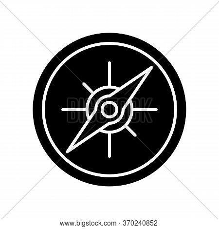 Compass Black Glyph Icon. Marine And Land Navigation, Direction Guide Tool Silhouette Symbol On Whit