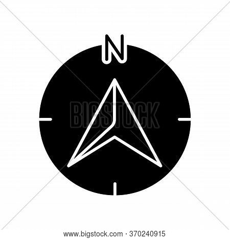 Navigator Arrow Black Glyph Icon. Modern Navigation Technology, Global Positioning System, Geolocati