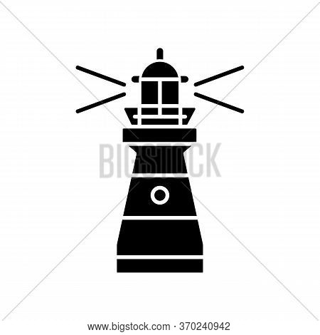 Lighthouse Black Glyph Icon. Traditional Maritime Navigational Landmark Silhouette Symbol On White S