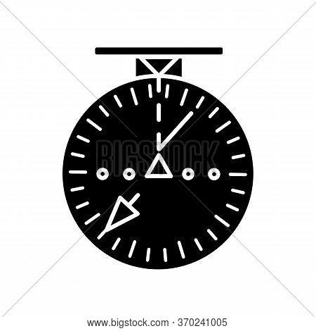 Aeronautical Navigational Radar Black Glyph Icon. Modern Navigation Technology For Aircrafts. Silhou