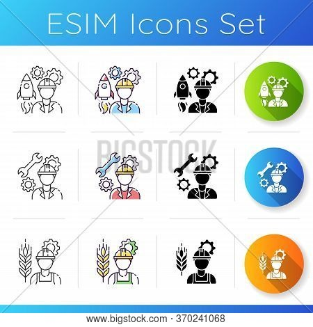 Civil Engineering Icons Set. Aerospace Manufacturin Specialist. Mechanic For Machinery Maintenance.