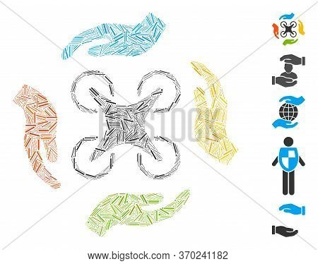 Hatch Mosaic Based On Copter Care Hands Icon. Mosaic Vector Copter Care Hands Is Composed With Scatt