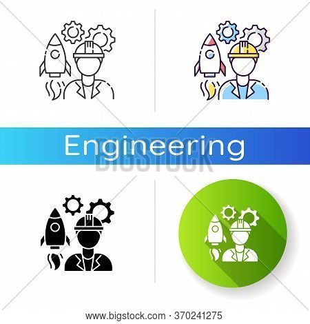 Aerospace Engineer Icon. Space Rocket Building Specialist. Professional To Work On Spaceship. Techni