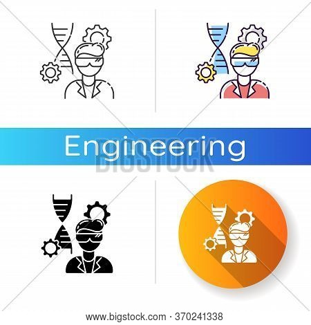 Biomedical Engineer Icon. Biotechnology Field Specialist. Professional Employee To Work In Medical L