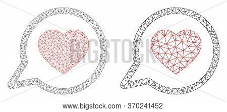 Mesh Vector Favorite Message Icon. Mesh Wireframe Favorite Message Image In Lowpoly Style With Organ
