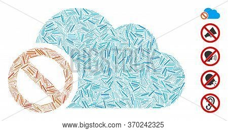 Hatch Mosaic Based On Disabled Cloud Icon. Mosaic Vector Disabled Cloud Is Designed With Scattered H