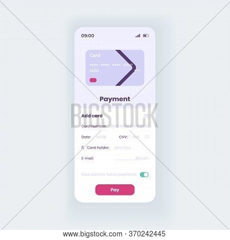 Debit Card Smartphone Interface Vector Template. Mobile App Page White Design Layout. Bank Account S