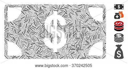 Line Mosaic Based On Dollar Banknote Icon. Mosaic Vector Dollar Banknote Is Designed With Scattered