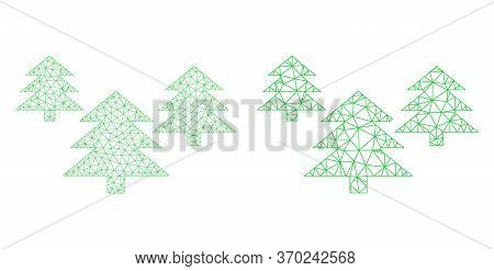 Mesh Vector Fir Tree Forest Icon. Mesh Carcass Fir Tree Forest Image In Lowpoly Style With Combined