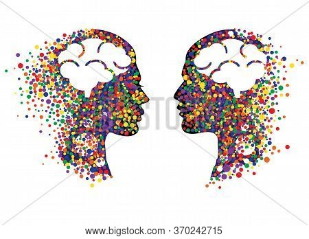 Abstract Face With Colorful Circles. Man And Woman Head Icons With Abstract Brains Vector Illustrati