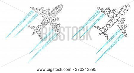 Mesh Vector Flying Airplane Trace Icon. Mesh Carcass Flying Airplane Trace Image In Low Poly Style W