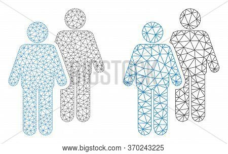 Polygonal Vector Gay Persons Couple Icon. Mesh Wireframe Gay Persons Couple Image In Lowpoly Style W