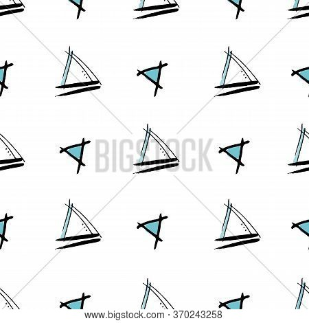 Childlike Triangles Sketched Triangles With Blue Center Hand Drawn Vector Seamless Repeat Pattern Wi
