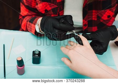 Manicurist At Work, Beaty Manicure Nails. Manicure Process. Closeup Photo Shoot Of Manicure Process
