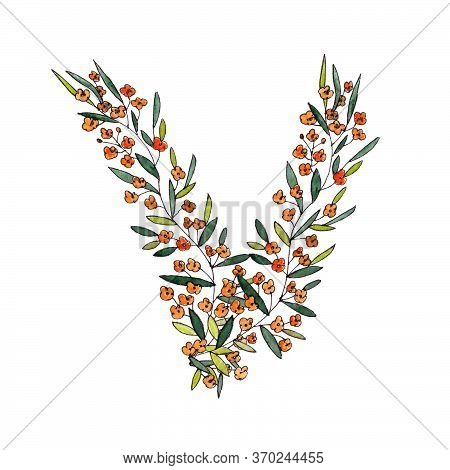 Letter V Of The English And Latin Floral Alphabet. Graphic On A White Background. Letter V Of Sprigs