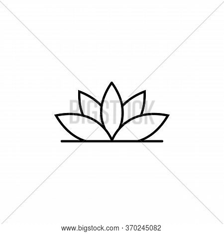Lotus, Yoga Line Illustration Icon On White Background