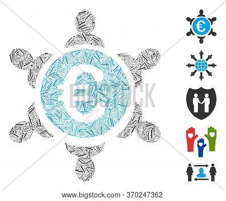 Line Mosaic Based On Euro Collaboration Icon. Mosaic Vector Euro Collaboration Is Composed With Scat
