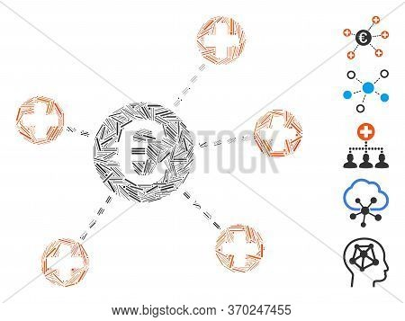 Line Mosaic Based On Euro Medical Links Icon. Mosaic Vector Euro Medical Links Is Composed With Rand