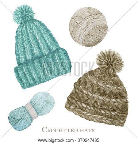 Scandinavian Style Crocheted Hat, Wool Yarn. Crochet Shop Logotype, Branding, Avatar Composition Of