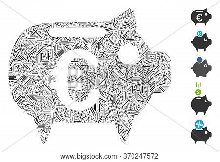 Hatch Mosaic Based On Euro Piggy Bank Icon. Mosaic Vector Euro Piggy Bank Is Formed With Scattered H