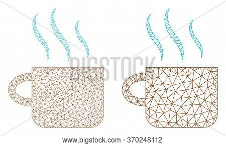 Mesh Vector Hot Tea Cup Icon. Mesh Wireframe Hot Tea Cup Image In Lowpoly Style With Organized Trian