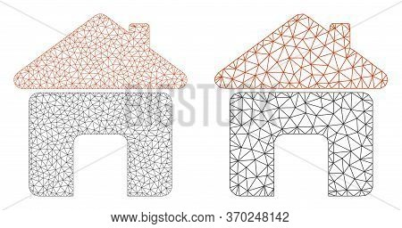 Mesh Vector House Icon. Mesh Carcass House Image In Lowpoly Style With Connected Triangles, Dots And
