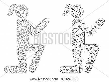 Net Vector Knee Standing Girl Icon. Mesh Carcass Knee Standing Girl Image In Low Poly Style With Org