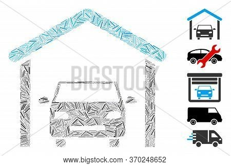 Line Mosaic Based On Garage Car Icon. Mosaic Vector Garage Car Is Composed With Random Line Elements