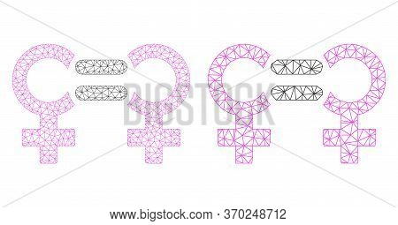 Polygonal Vector Lesbian Relation Symbol Icon. Mesh Carcass Lesbian Relation Symbol Image In Lowpoly
