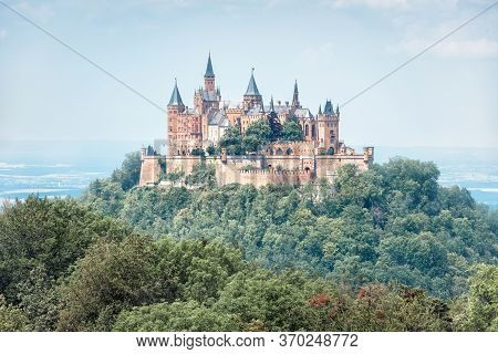 Hohenzollern Castle In Summer Morning, Germany. It Is Famous Landmark In Stuttgart Vicinity. Landsca