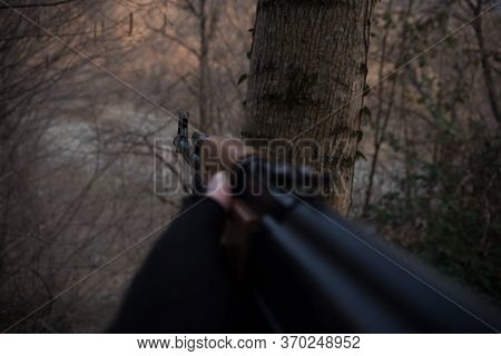 Shooter Aiming Target With Assault Rifle Weapon. Dangerous Bandit Aiming Gun. Special Soldier During