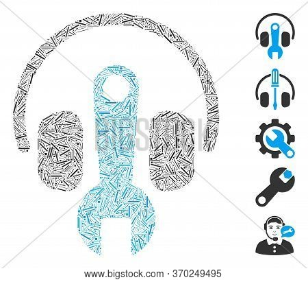 Hatch Mosaic Based On Headphones Tuning Wrench Icon. Mosaic Vector Headphones Tuning Wrench Is Creat