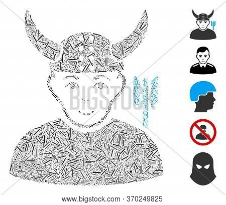 Hatch Mosaic Based On Horned Warrior Icon. Mosaic Vector Horned Warrior Is Composed With Randomized