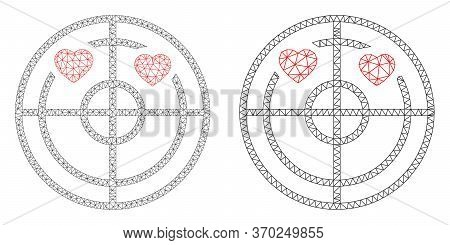 Mesh Vector Love Hearts Radar Icon. Mesh Carcass Love Hearts Radar Image In Lowpoly Style With Combi