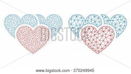 Mesh Vector Love Hearts Icon. Mesh Wireframe Love Hearts Image In Lowpoly Style With Structured Tria