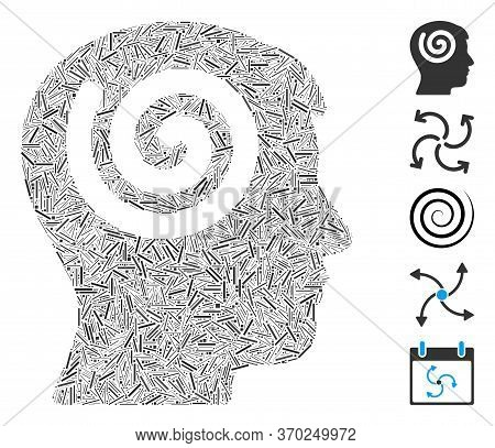 Line Mosaic Based On Hypnosis Icon. Mosaic Vector Hypnosis Is Composed With Random Line Elements. Bo