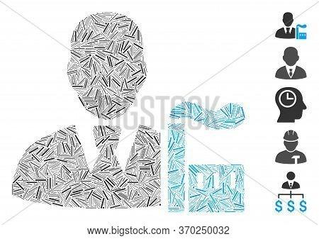 Line Mosaic Based On Industry Capitalist Icon. Mosaic Vector Industry Capitalist Is Created With Ran