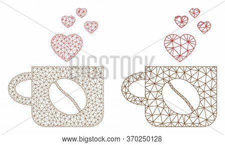 Triangular Vector Lovely Coffee Cup Icon. Mesh Wireframe Lovely Coffee Cup Image In Low Poly Style W