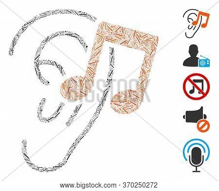 Line Mosaic Based On Listen Music Icon. Mosaic Vector Listen Music Is Designed With Scattered Line I